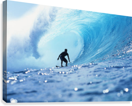 Hawaii, Oahu, North Shore, Silhouette Of Surfer In Pipeline Barrel  Canvas Print