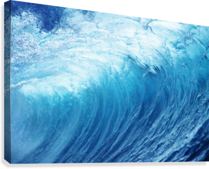Inside Glassy, Blue Wave Curling Over, Closeup Canvas print