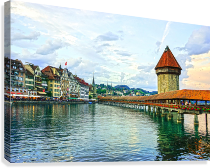 Chapel Bridge and Old Town at Sunset Lucerne Switzerland  Canvas Print