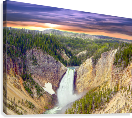 Grand Canyon of Yellowstone - The Falls in the Waning Light of Day - Yellowstone National Park at Sunset  Canvas Print