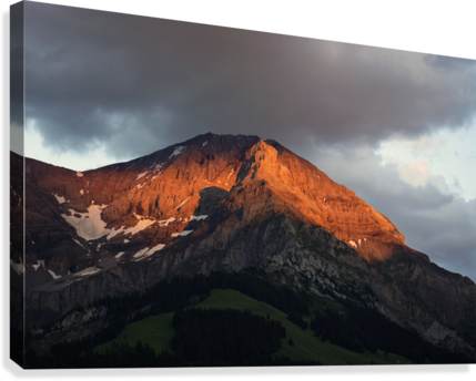 Mountain Bathed in the Golden Rays of the Sun at Sunset in Switzerland 3 of 3  Canvas Print