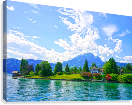 Perfect Day on the shores of Lake Lucerne Switzerland  Canvas Print