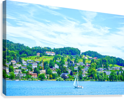 Sailboat On Lake Lucerne with Alpine Village in Background  Canvas Print