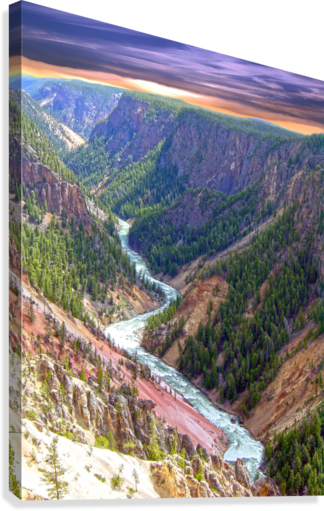 Grand Canyon of Yellowstone in the Waning Light of Day - Yellowstone National Park at Sunset  Canvas Print