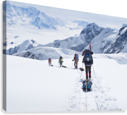 Mountaineer Group Descends Into The Maccarthy Gap On The King Trench Route, Mt. Logan, Kluane National Park, Yukon Territory, Canada, Summer  Canvas Print