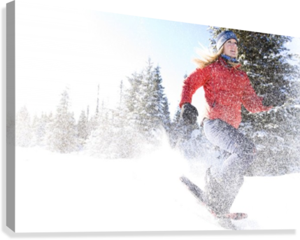Young Woman On Snowshoes Enjoy The Outdoors Near Homer, Alaska During Winter.  Canvas Print