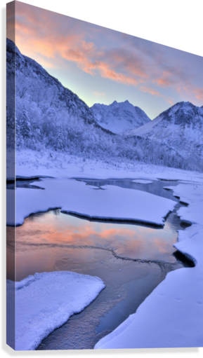 Colorful Sunrise Over A Stream At The Eagle River Nature Center In Chugach State Park, Southcentral Alaska, Winter, Hdr  Canvas Print