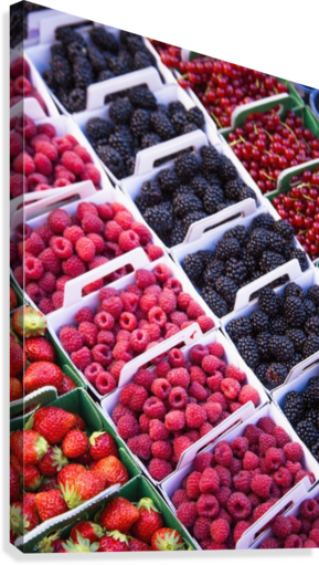 Berries in boxes at a food market;Sault vaucluse provence france  Canvas Print