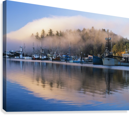 Boats dock at Winchester Bay; Oregon, United States of America  Canvas Print