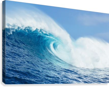 A large ocean wave breaks at the big wave spot know as Jaws or Peahi; Maui, Hawaii, United States of America  Canvas Print