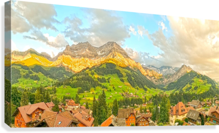 Golden Rays Across The Bernese Highlands in Switzerland Panorama with Engstligen Falls  Canvas Print