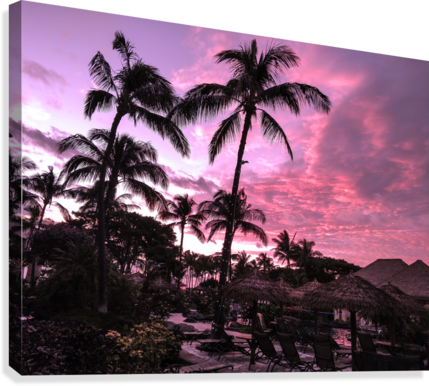 After the Beach Party - Tropical Sunset Hawaii  Canvas Print