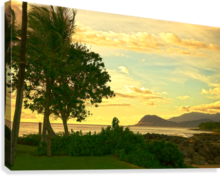 Sunset over the Bay Oahu Hawaii  Canvas Print