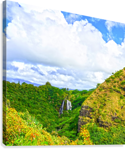 The Falls at the Mountain Overlook on Kauai Square  Canvas Print