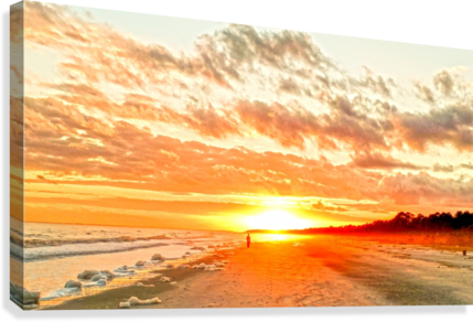 The Day Ends at the Seashore  Canvas Print