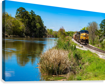 CSX Train along the Augusta Canal GA 02909  Canvas Print