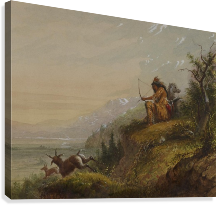 A Pawnee Indian shooting antelopes  Canvas Print
