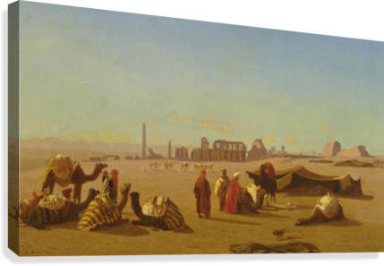 A caravan at rest, the Temple of Karnak, Thebes in the distance  Canvas Print