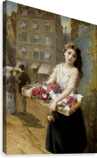 A girl selling roses  Canvas Print