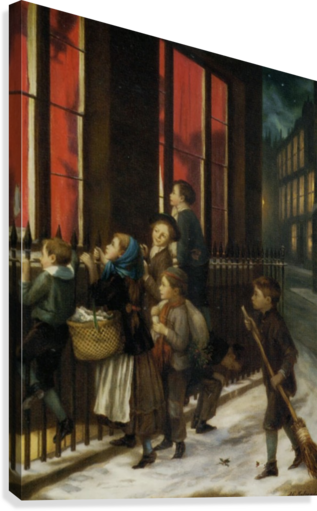 A group of children gazing through the window  Canvas Print