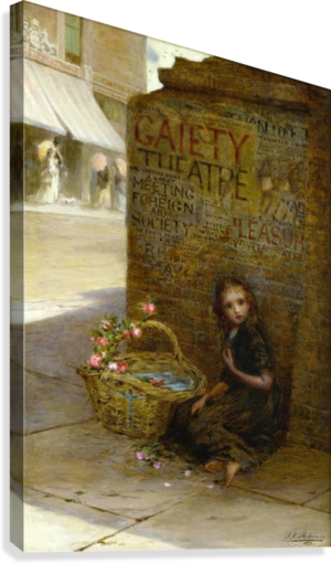 A little girl selling flowers  Canvas Print