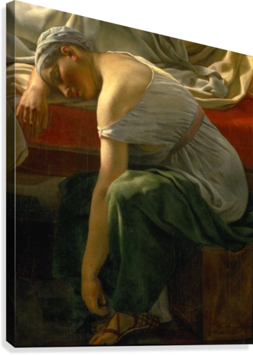 A sleeping woman in antique costume  Canvas Print