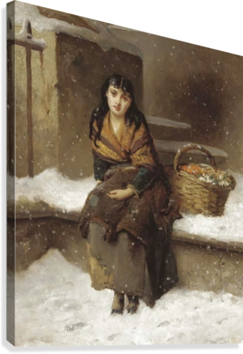 A woman in the snow with a grocery basket  Canvas Print