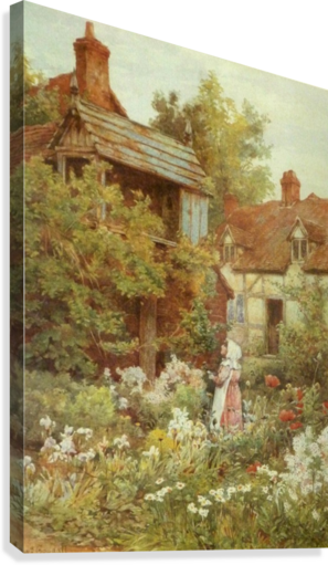 A young girl starring by the house  Canvas Print