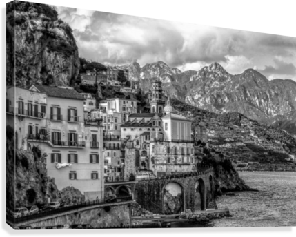 Black and White Landscape - Amalfi Coast - Italy Canvas print