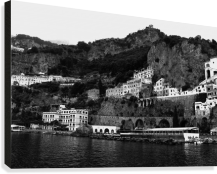 Amalfi Coast Black and White Landscape  Canvas Print