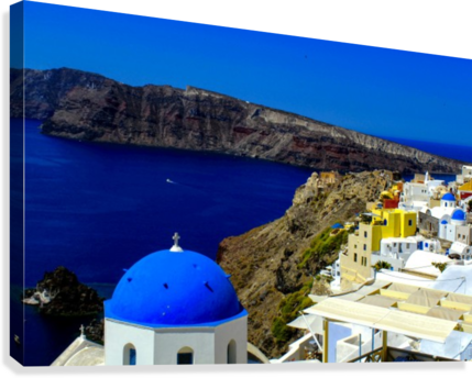Santorini  - Super Colorful Landscape  Canvas Print