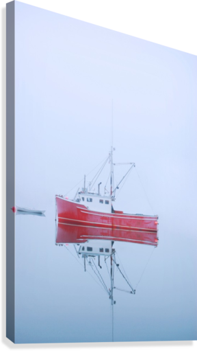 New Brunswick - fishing boat reflected in water  Canvas Print