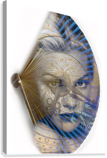 Face with clock and fan  Canvas Print
