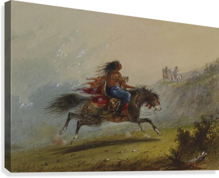 AN INDIAN GIRL ON HORSEBACK ALFRED JACOB MILLER  Canvas Print
