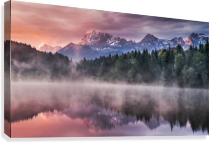 Sunrise at a Lake with Alps in the Background  Canvas Print