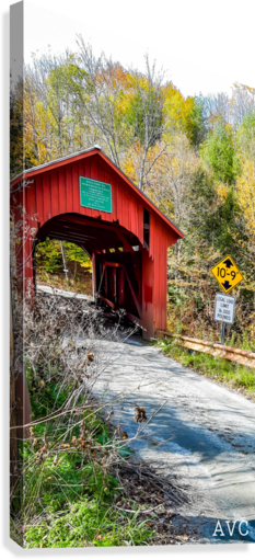Slaughterhouse Bridge Northfield VT-- Autumn  Canvas Print