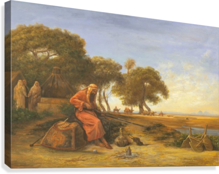 Arab encampment with trees in the back  Canvas Print