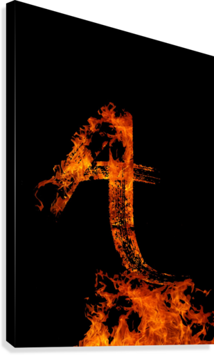 BURNING ON FIRE LETTER A ARTISTIC PARADIGMS  Canvas Print