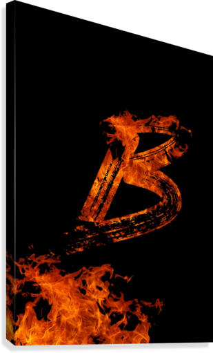 Burning on Fire Letter B  Canvas Print