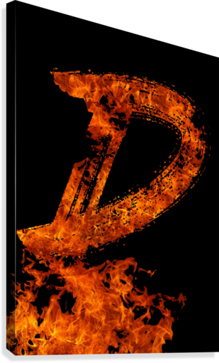 Burning on Fire Letter D  Canvas Print