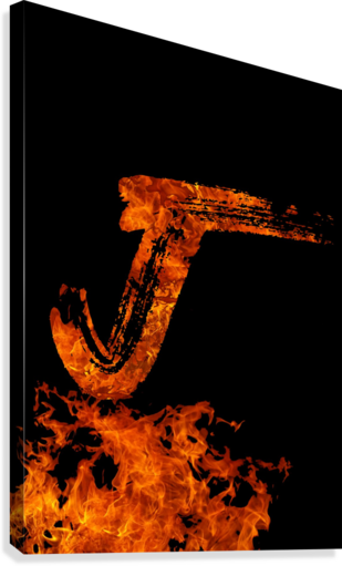 Burning on Fire Letter J  Canvas Print