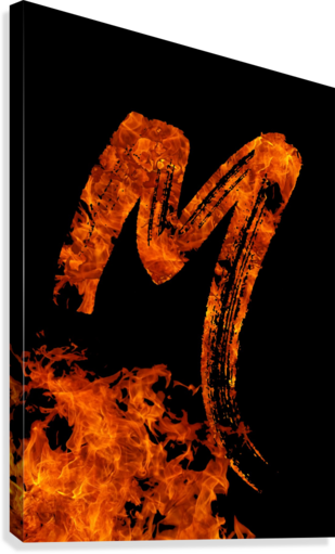 Burning on Fire Letter M  Canvas Print