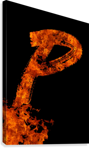 Burning on Fire Letter P  Canvas Print