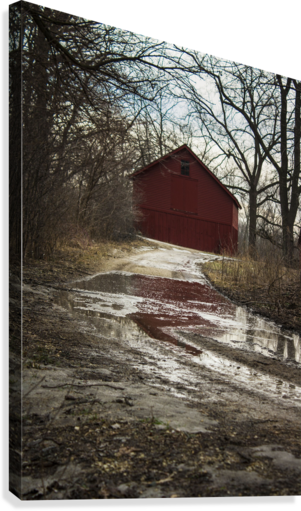 Travel to the Red Barn  Canvas Print