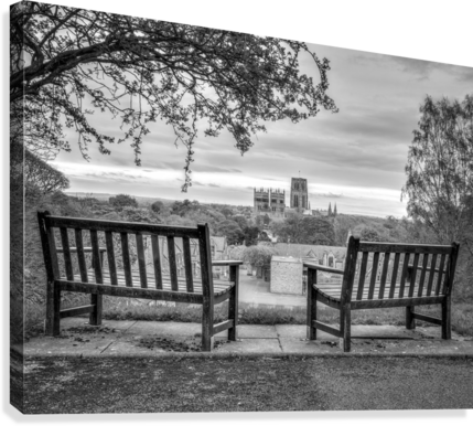 Park benches with Durham Cathedral in background  Canvas Print