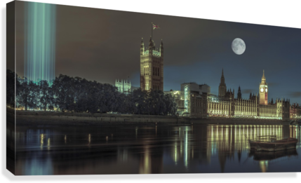 Column of spectra lights with Westminster Abby, London, UK  Impression sur toile