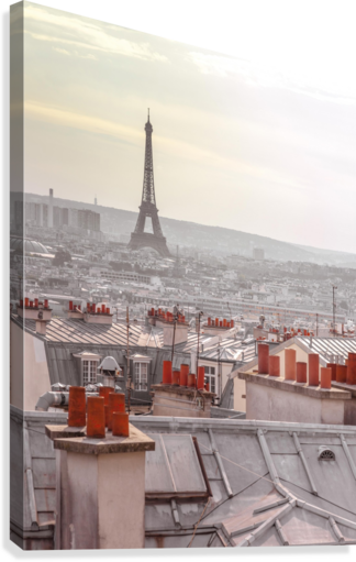 Eiffel Tower seen through the window of an apartment in Montmartre, Paris, France  Canvas Print