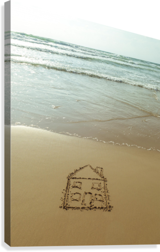 Sweet home drawn on sand at the beach  Canvas Print