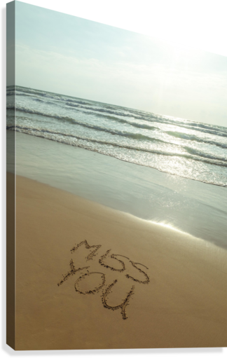 Miss You written on the beach  Canvas Print