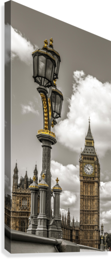 Street lamp with Big Ben in background, London, UK  Canvas Print